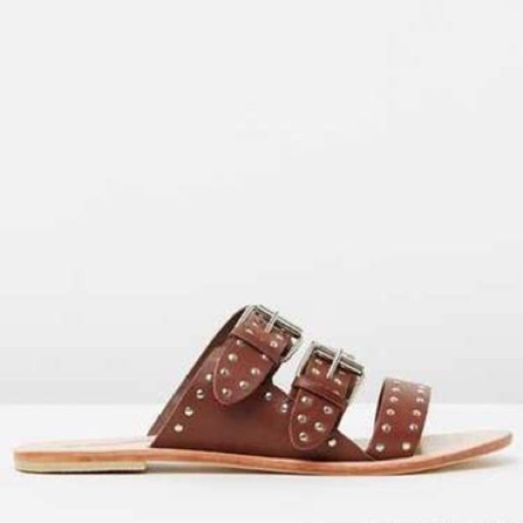 New 6 36 Sol Sana Brown Leather Studded